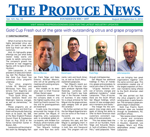 Article in The Produce trade journal